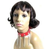 Red leather collar with chains