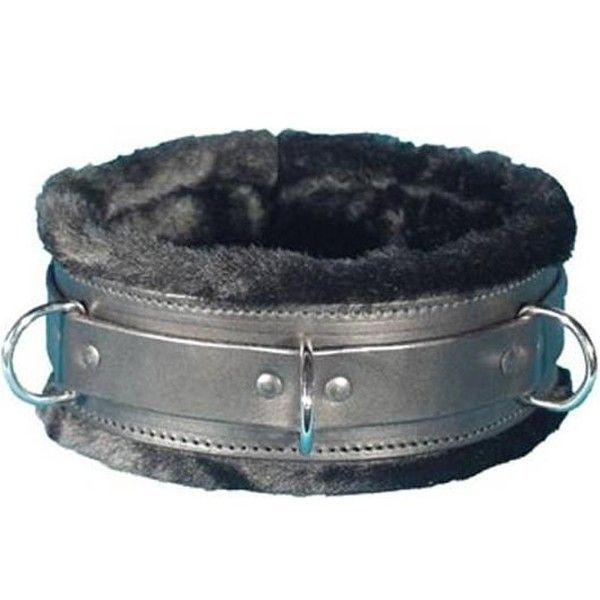 BDSM (БДСМ) - Черный ошейник с меховой подкладкой