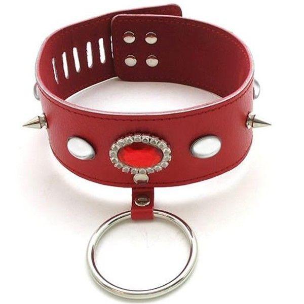 BDSM (БДСМ) - Современный красный кожаный ошейник