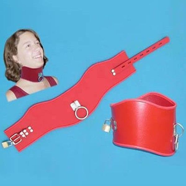 BDSM (БДСМ) - Красный кожаный широкий ошейник