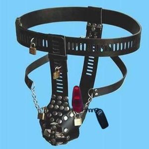 Black male chastity belt with anal vibrator