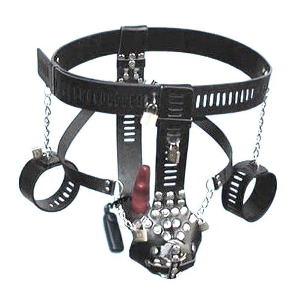 BDSM (БДСМ) - Черный мужской пояс верности с красным анальным   прибором