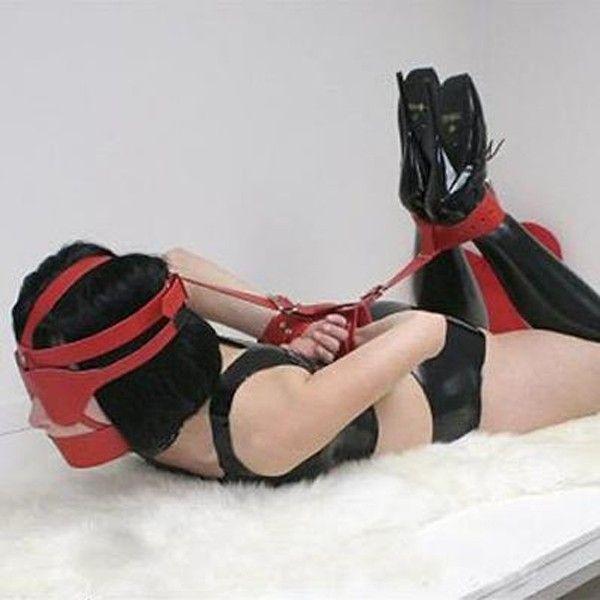 BDSM (БДСМ) - Красный кожаный многофункциональный фиксатор
