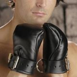 Black faux leather gloves-handcuffs