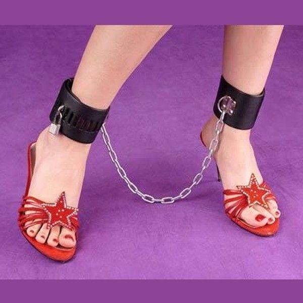 BDSM (БДСМ) - Черные кожаные наножники - с