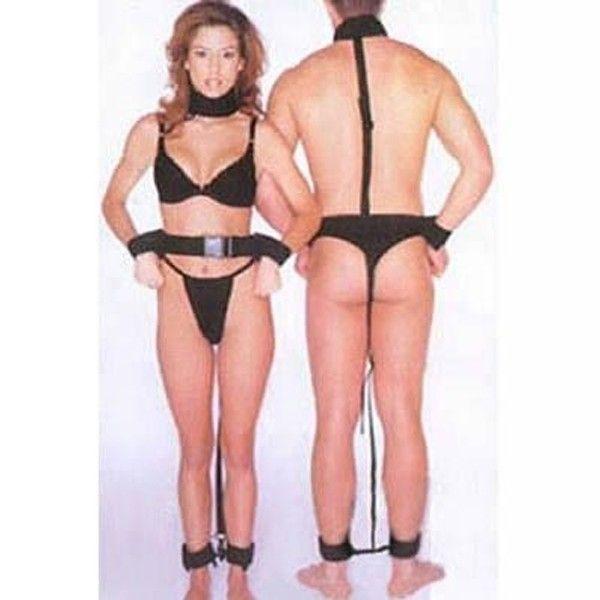 Черный кожаный бондаж для мужчин и женщин