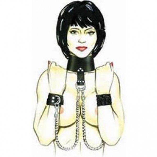 BDSM (БДСМ) - Черный кожаный бондаж с 2-мя цепочками