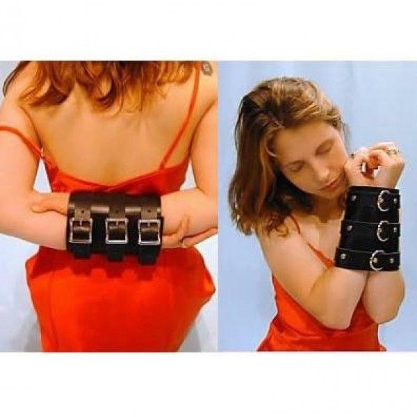 BDSM (БДСМ) - Черный кожаный фиксатор для надежного крепления рук