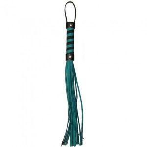 Строгая кожаная плеть зеленая