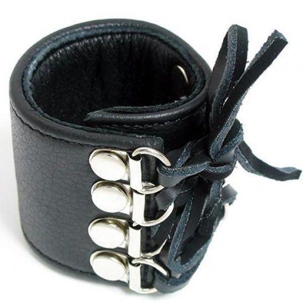 BDSM (БДСМ) - Кожаный фиксатор на пенис на шнуровке
