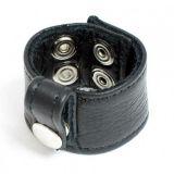 BDSM (БДСМ) - Черный кожаный фиксатор с заклепками
