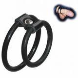 БДСМ - Черный фиксатор на пенис кольца