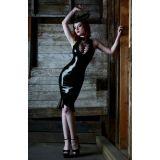 Черное шыкарное кожаное платье