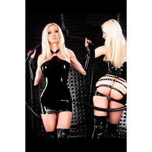 Black vinyl dress