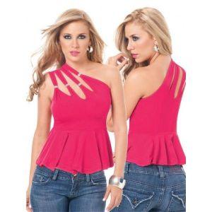 Розовый топ на одно плече - Топы, майки