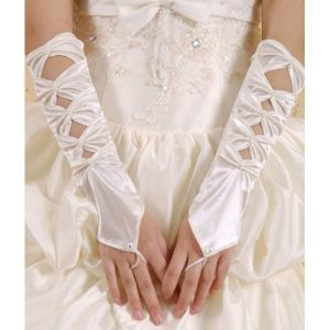 Satin gloves white
