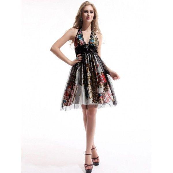 Сексуальное коктейльное платье с принтом