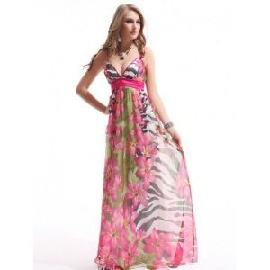 SALE! Chiffon evening dress with delicate print