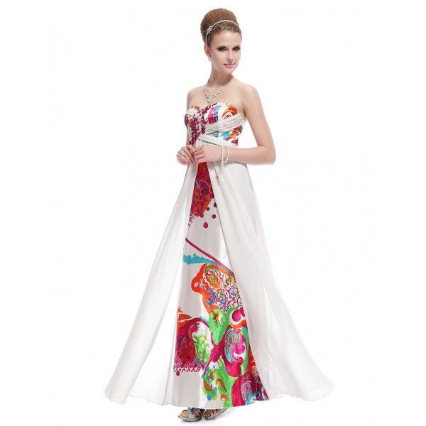 Вечернее длинное платье с принтом