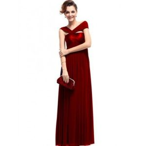 SALE! Bright red evening long dress one-shoulder
