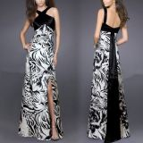Evening long dress with crisscross straps, open back