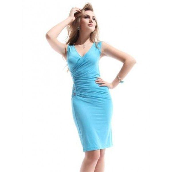 Сексуальное обтягивающее платье с V-образным вырезом спереди