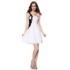 Black and white cocktail dress decorated with macrame shoulder. Артикул: IXI14823