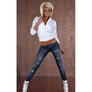 Леггинсы с принтом имитацией джинс с низкой талией - Леггинсы