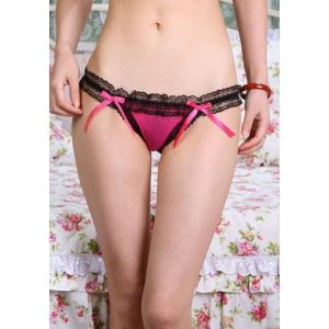 Red Thong panty with black lace trim. Артикул: IXI14905