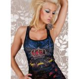 Black vest with printop crown
