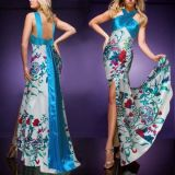 Elegant evening dress with blue print