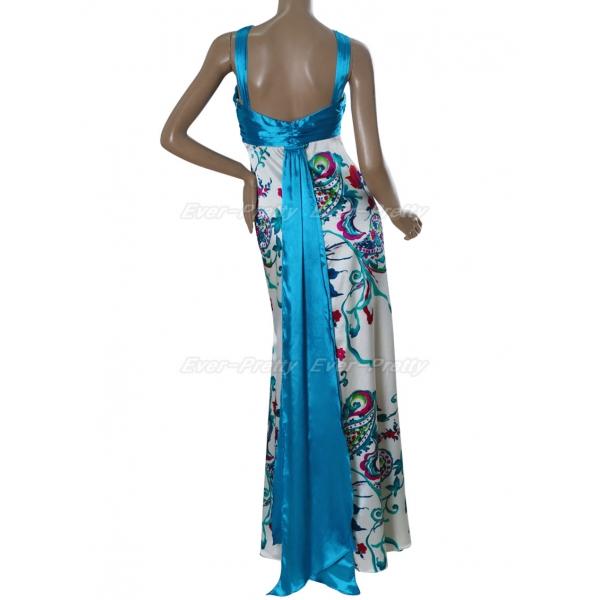 Elegant evening dress with blue print. Артикул: IXI15110