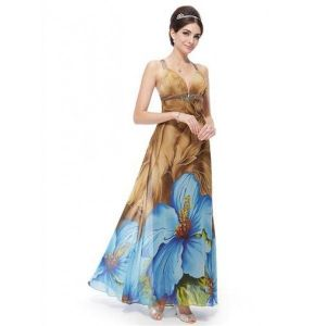 SALE! Evening long dress with a gorgeous print of large blue flowers
