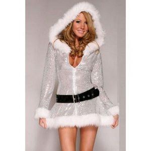 Мерцающее платье новогоднее с капюшоном и поясом - Карнавальные костюмы