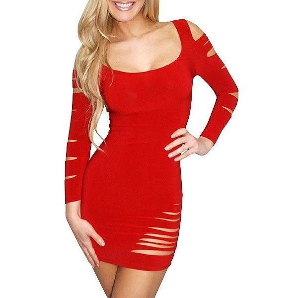 Облегающее красное циническое платье с многочисленными разрезами