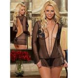 Chemise with deep cut Dark night