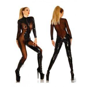 Сексуальный виниловый комбинезон с вставками - Одежда (латекс, винил)