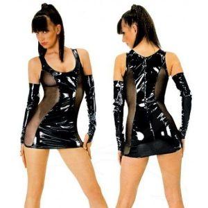 Виниловое мини-платье с перчатками
