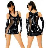 Виниловое мини-платье с перчатками по оптовой цене