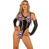 Vinyl bodysuit with gloves