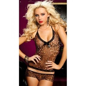 Леопардовый комплект: маечка и трусики - Комплекты белья