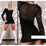 Black lace mini dress with rhinestones.