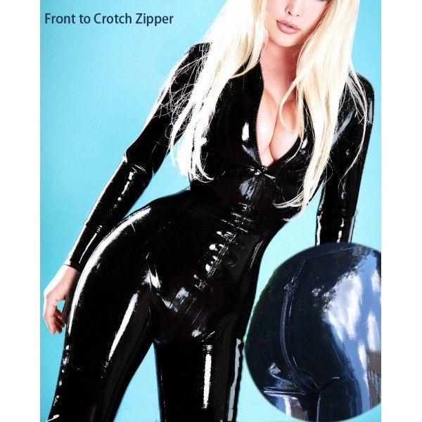 Vinyl jumpsuit with zipper front long sleeve