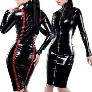 Luxury vinyl dress with zipper and lace-up. Артикул: IXI15732
