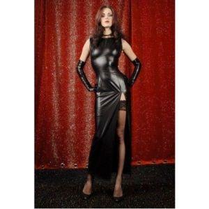 Длинное виниловое платье
