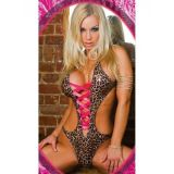 Bodysuit leopard with bright lacing