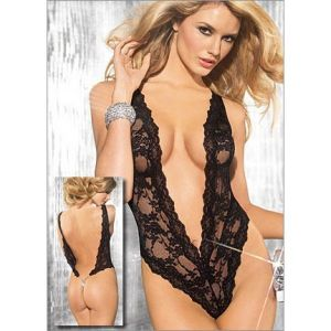 Black fishnet bodysuit with open back. Артикул: IXI15771