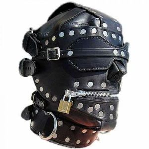 Leather mask adjustable straps