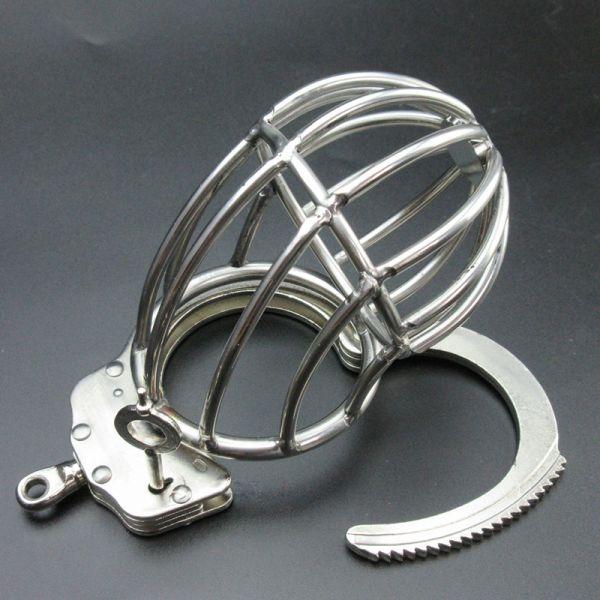 BDSM (БДСМ) - Серебристый пояс целомудрия с наручником