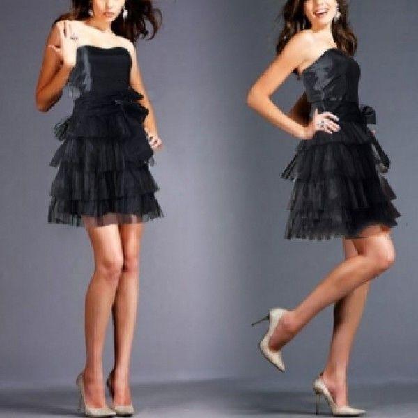 Вечернее черное мини платье без бретелек